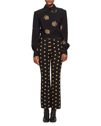 Embroidered Flower Button-Front Jacket, Black/Gold and Matching Items