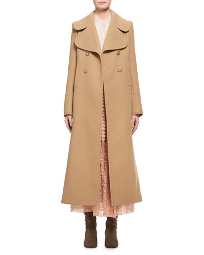 Double-Breasted Full-Length Dress Coat, Camel and Matching Items