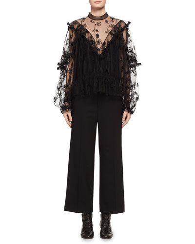 Long-Sleeve Embroidered Tulle Blouse and Matching Items