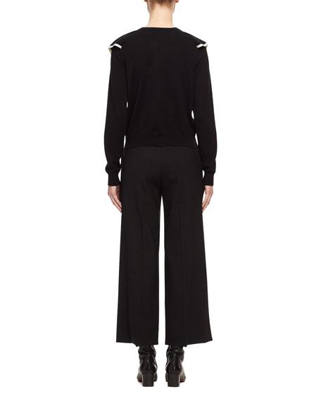 Ruffle-Front Cashmere-Cotton Sweater, Black/White