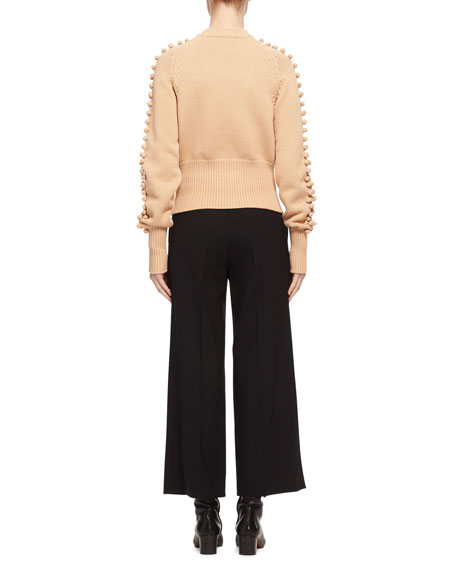Bauble-Detail Mock-Neck Sweater