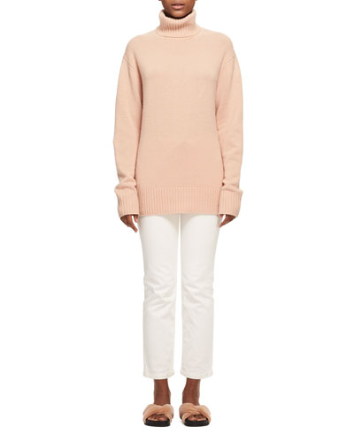 Bicolor Iconic Cashmere Turtleneck Sweater, Light Pink and Matching Items