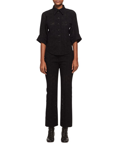 Cropped Eyelet Straight-Leg Pants, Black and Matching Items