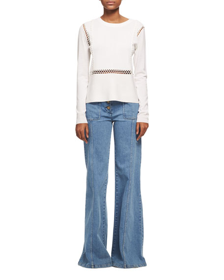Wool-Silk Sweater with Scalloped Lace Trim, White