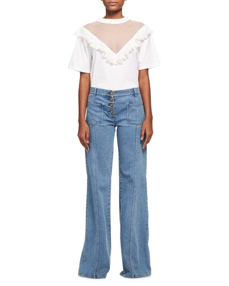Ruffled Tulle Short-Sleeve T-Shirt, White