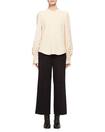 Long-Sleeve Eyelet Cady Blouse, Light Beige and Matching Items