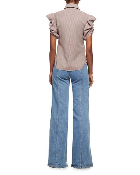 Wide Flare-Leg Jeans, Medium Blue