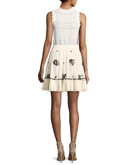 Sleeveless Pointelle Crewneck Sweater, White