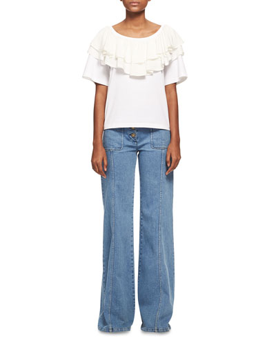 Wide Flare-Leg Jeans, Medium Blue and Matching Items
