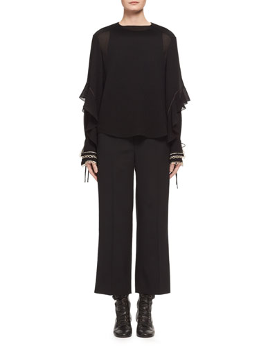High-Waist Stretch-Wool Cropped Pants, Black and Matching Items