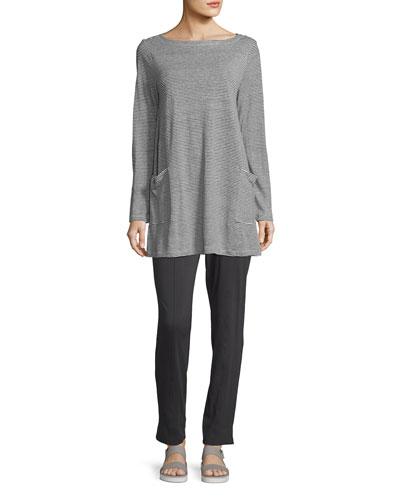 Organic Linen Jersey Mini-Striped Tunic w/ Pockets, Petite and Matching Items