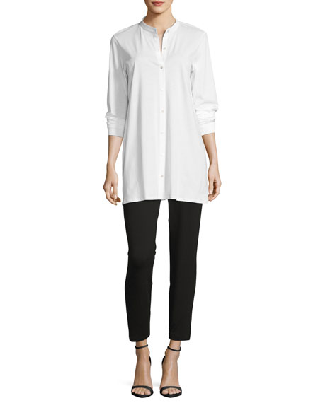 Mandarin-Collar Easy Jersey Tunic, Petite