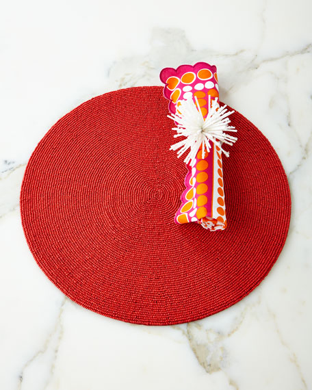 Round Red Seed-Bead Placemat