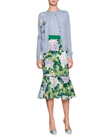 Flounce-Hem Hydrangea Mermaid Skirt, Green