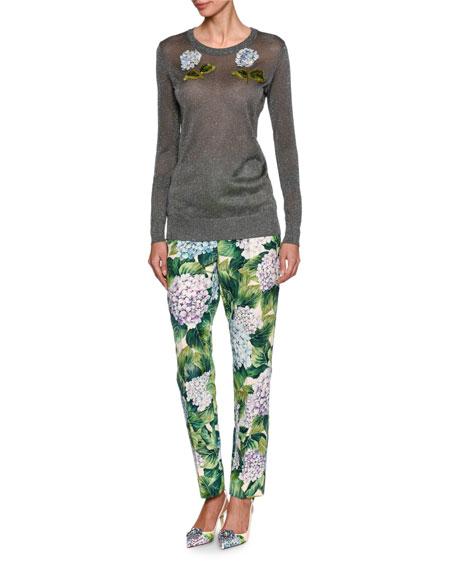 Hydrangea Brocade Cropped Straight-Leg Pants, Green