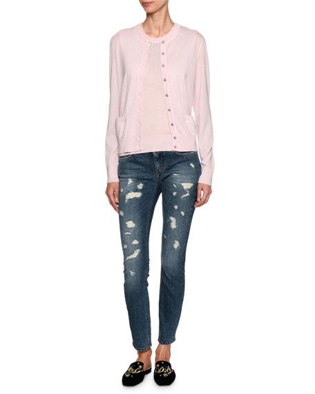 Cashmere Crewneck Shell Sweater, Light Pink