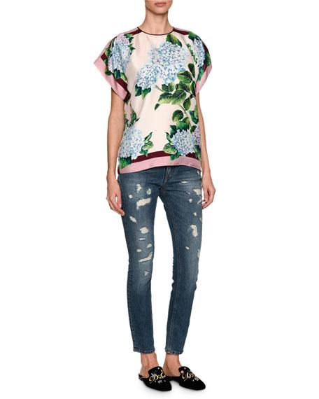 Hydrangea Silk Twill Top, Multicolor