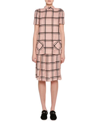 Sequined Windowpane Mock-Neck Top, Blush and Matching Items