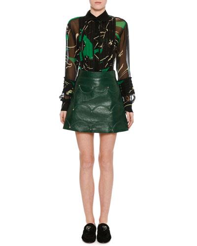 Chiffon Panther-Print Blouse, Green/Black and Matching Items