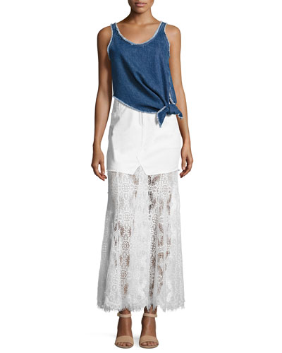 Sleeveless Knotted Denim Boxy Top & Denim & Lace Maxi Skirt