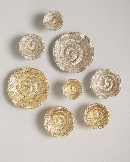 Gold Leaf/Nickel Escargot Wall Hangings, Set of 4