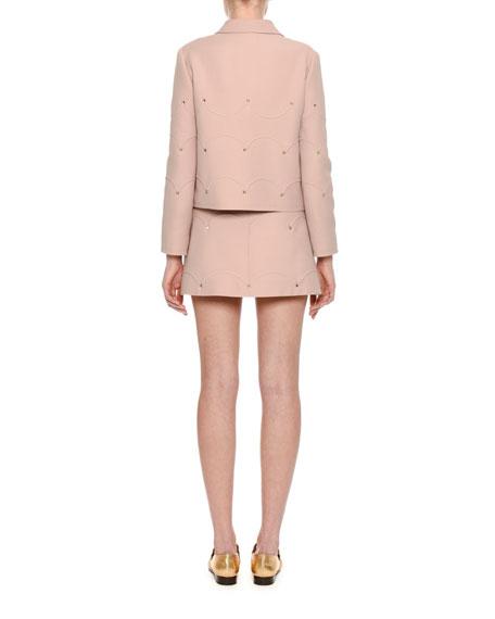 Rockstud Scalloped Crepe Miniskirt