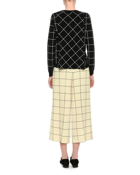 Windowpane Boxy Crewneck Sweater, Black