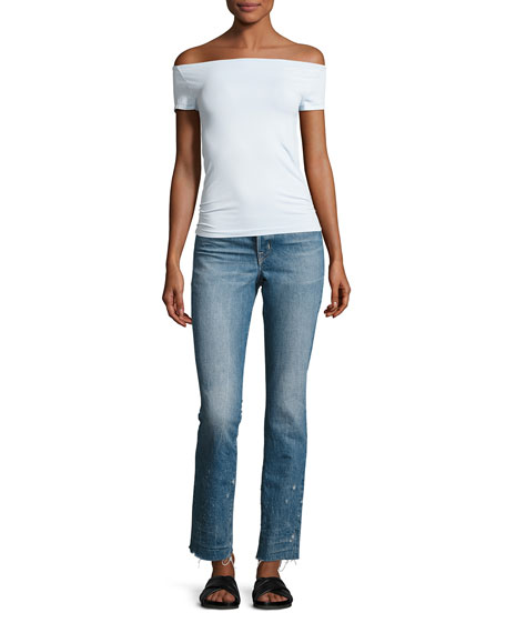 Off-the-Shoulder Stretch Jersey Tee