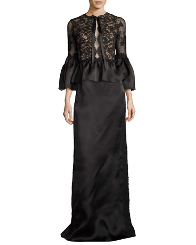 Corded Lace Satin Peplum Top, Black and Matching Items