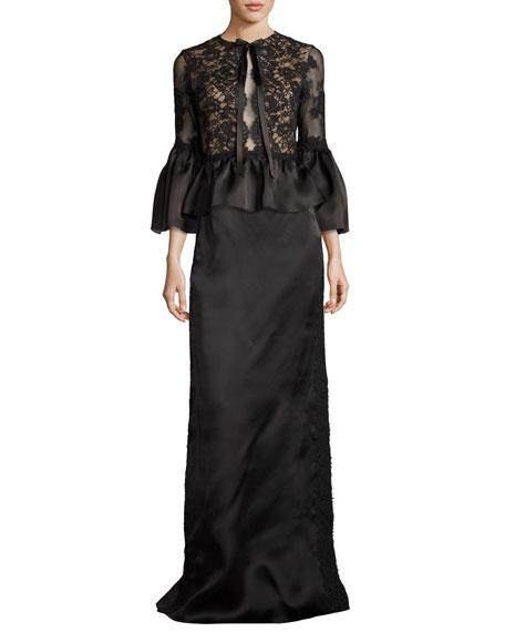 Corded Lace Satin Peplum Top, Black