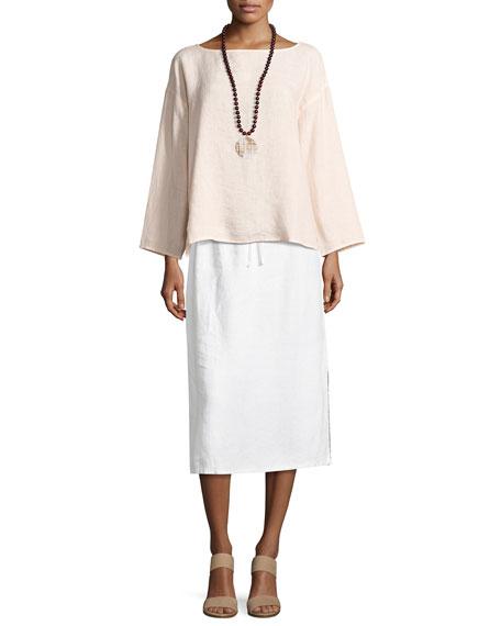 Heavy Organic Linen Midi Skirt