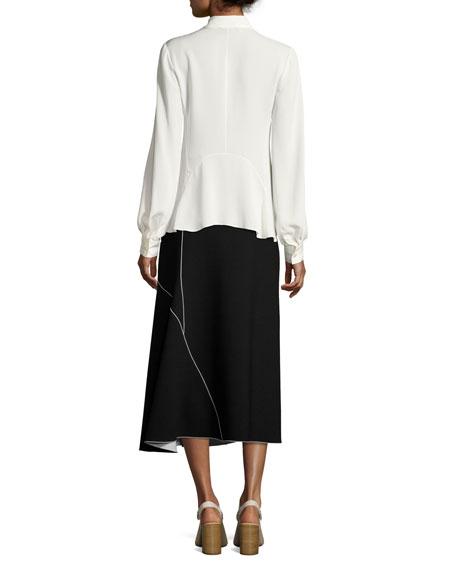 V-Neck Silk Blouse, White