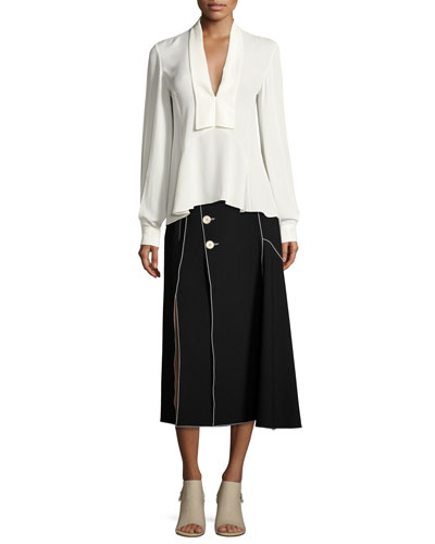 Crepe Side-Button Midi Skirt with Contrast Piping, Black and Matching Items