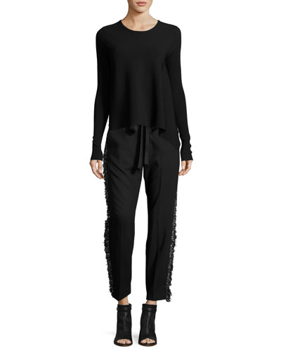 Fringe-Side Tapered Drawstring Pants, Black and Matching Items