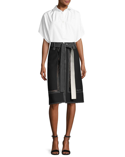 Lace-Inset Belted Zip-Front Skirt, Black and Matching Items