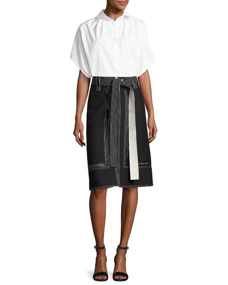 Oversized Short-Sleeve Shirt, White