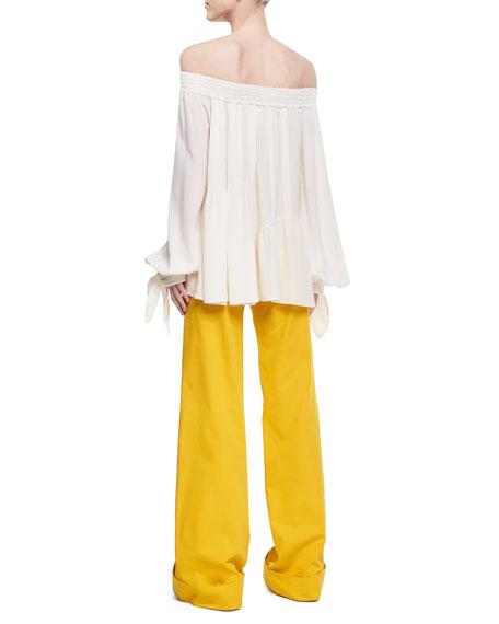Shirred Silk Off-the-Shoulder Blouse