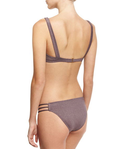 Monroe Cutout Shimmer Swim Top, Brown