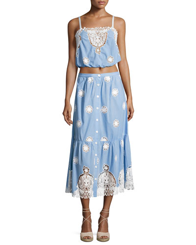 Adrienne Versailles Midi Skirt with Lace, Blue and Matching Items