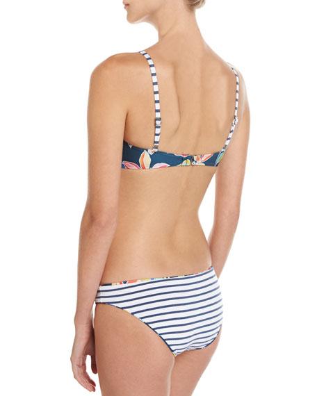 Tropical Traveler High-Neck Swim Top, Blue