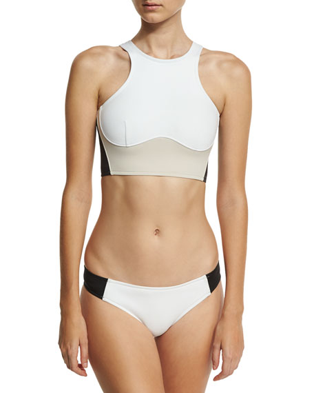 Miracle Colorblock High-Neck Swim Top, White/Stone/Black