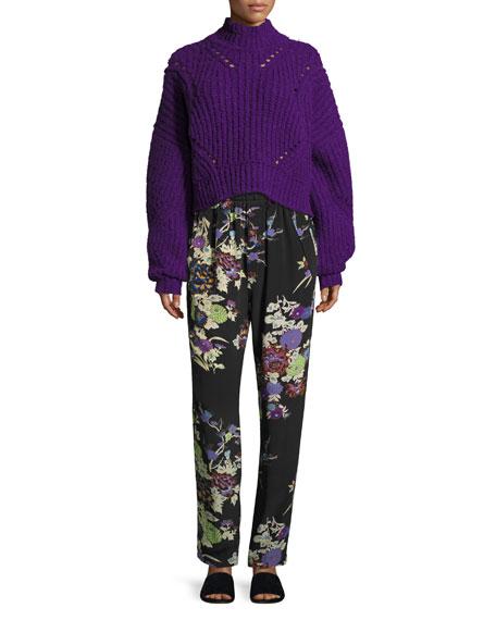 Farren Chunky Cropped Mock-Neck Sweater