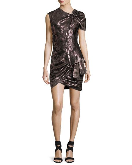 Maldy Metallic Pixel Floral Wrap Miniskirt, Pink