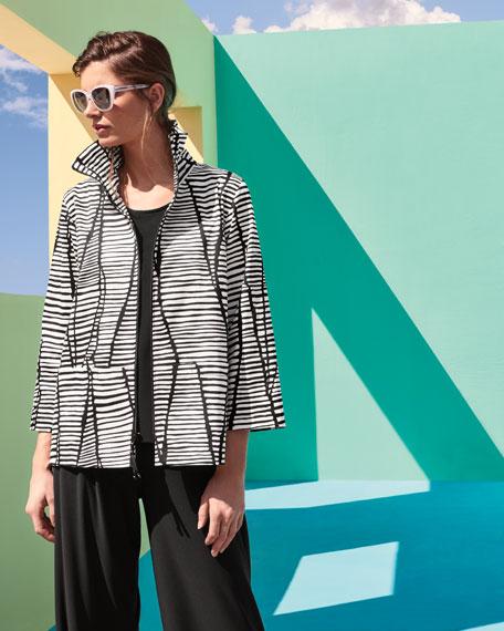 Lines & Vines Zip Jacket, Black/White