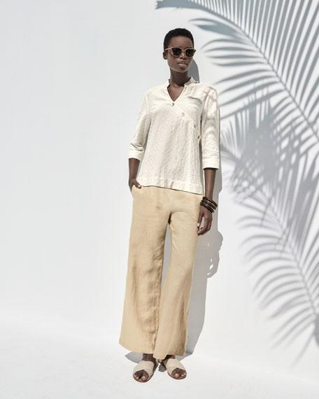 Linen Wide-Leg Pants, Petite