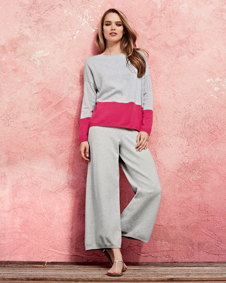Long-Sleeve Colorblocked Cotton Top, Petite