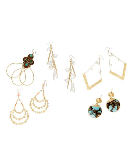 Devon Leigh Bronzite Turquoise Round Drop Earrings jRe0l67ouD