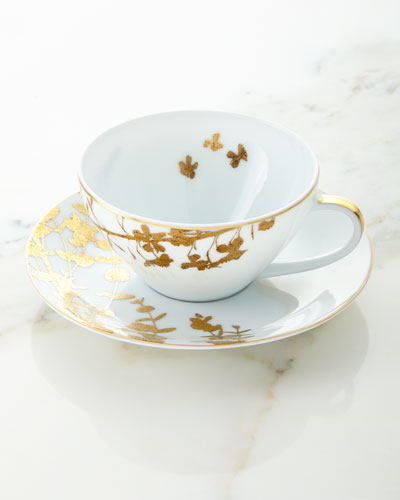 Vegetal Gold Teacup and Matching Items