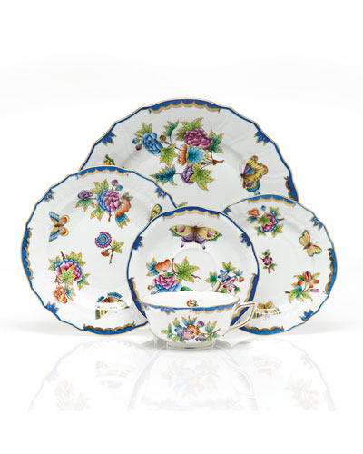 Queen Victoria Blue Dinner Plate and Matching Items