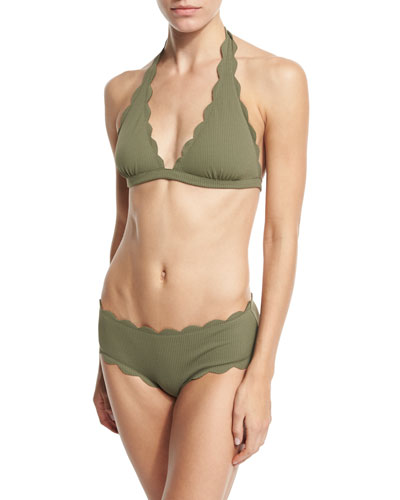 Spring Scalloped Boy-Cut Bikini Swim Bottom and Matching Items